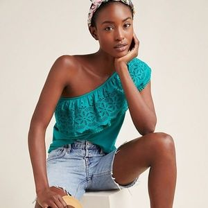 Anthropologie One-Shoulder Lace Top in Turquoise